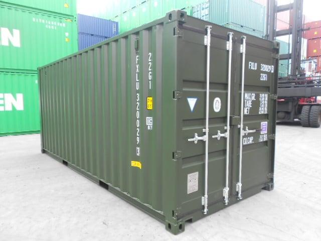 A1 Containers 20ft Std Double Door Green Easy Door FB (2)