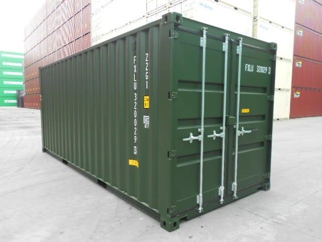 A1 Containers 20ft Std Double Door Green Easy Door FB (6)