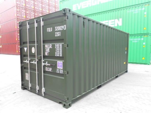 A1 Containers 20ft Std Double Door Green Easy Door FB (8)